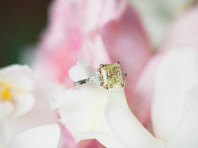 Engagement ring in orchid flower