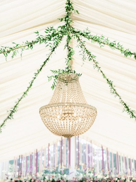 Chandelier in marquee Weston on the Green Oxforshire