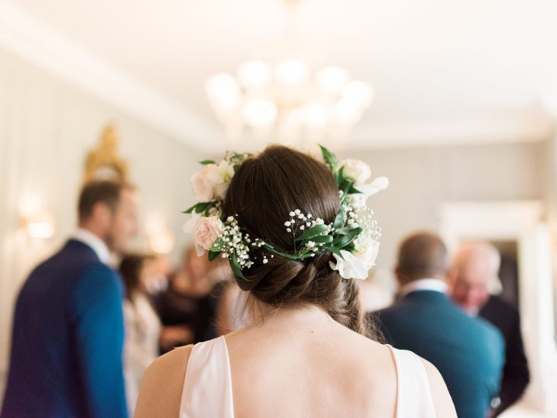 Bridesmaid with a hair crown by Fabulous Flowers