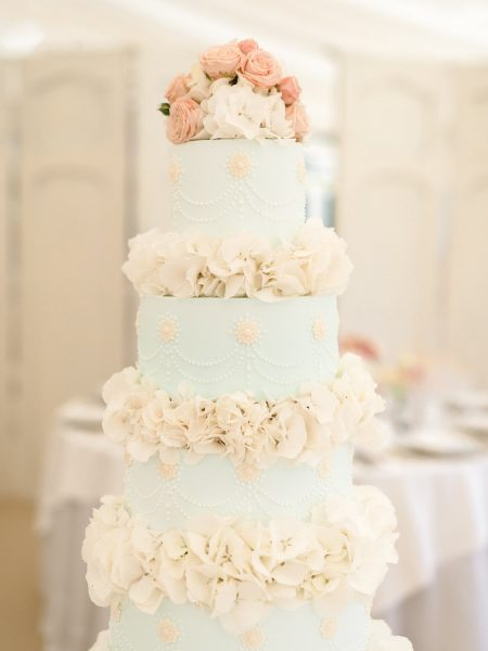 Pastel wedding cake by Princess Patisserie at Weston on the Green Oxfordshire