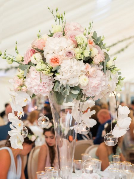 Pastel dusky pink flower table arrangement by Fabulous Flowers at Weston on the Green Oxfordshire