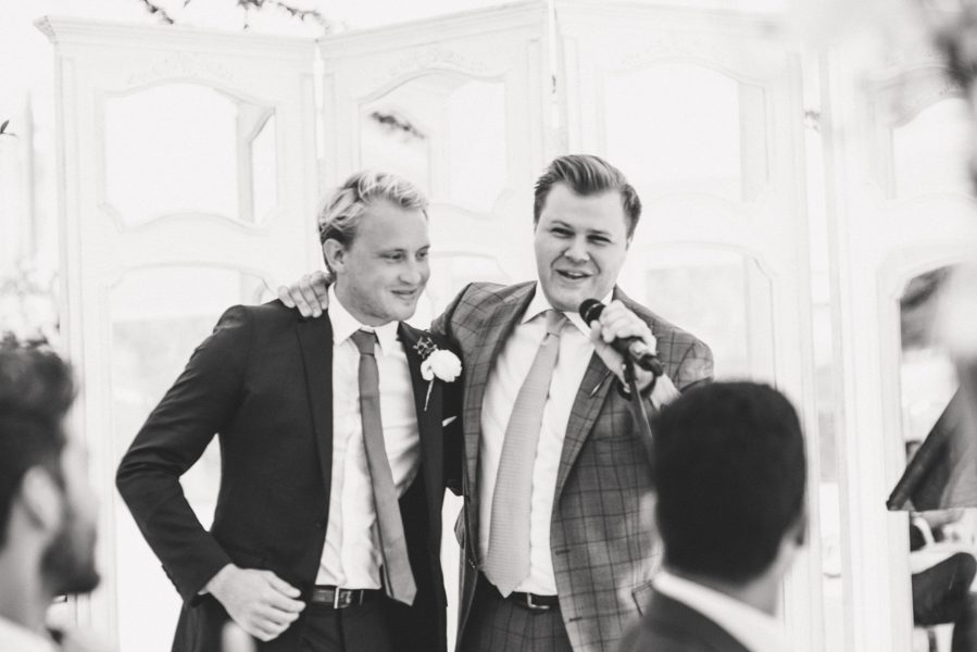 Groom and best man during speeches at Weston on the Green Oxfordshire