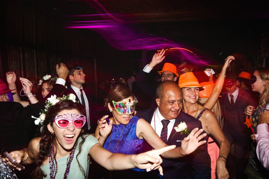 The crazy hour party fun on the dance floor with guests in masks at Weston n the Green Oxfordshire