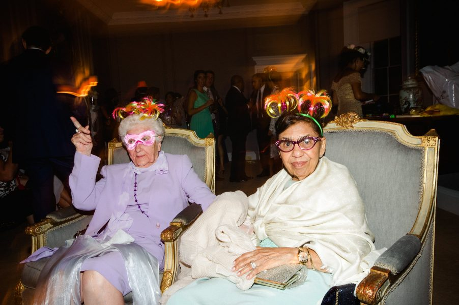 Two grannies in masks at wedding at Weston on the Green Manor Oxfordshire